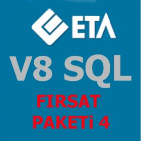 ETA V8 SQL PAKET 4 Fırsat Paketi Stok, Cari, Fatura, Muhasebe, Çek-Senet, İrsaliye, Kasa, Banka, Dövizli Raporlar, Kur Takibi
